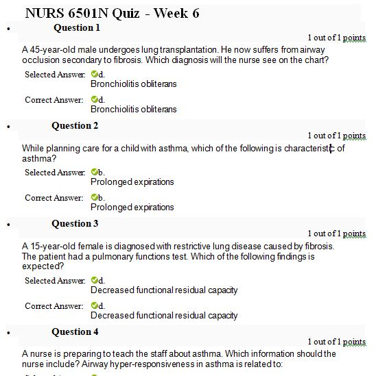 nurs 6501n week 6 quiz