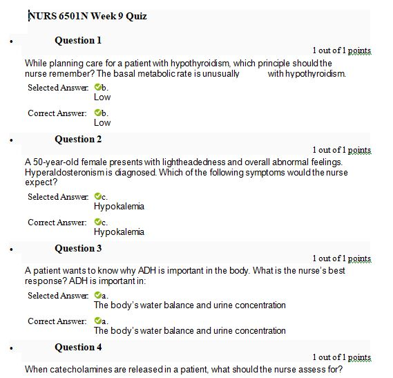 nurs 6501n week 9 quiz